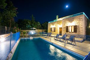 Pool with safety net-night picture